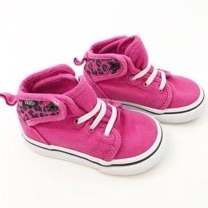 Vans Toddler Girls Pink & Cheetah Mid Shoes, 4.5